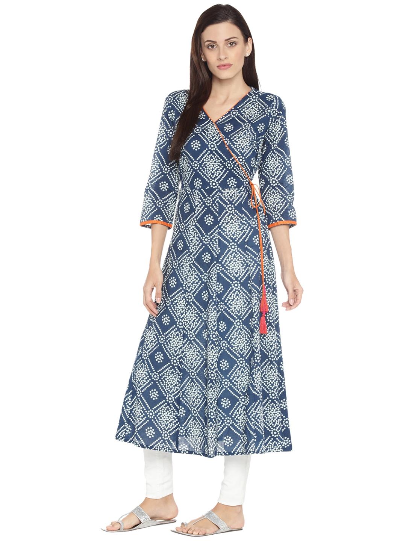 Buy RANGMANCH BY PANTALOONS Women Navy Blue   Off White Printed A ... 349c7c344