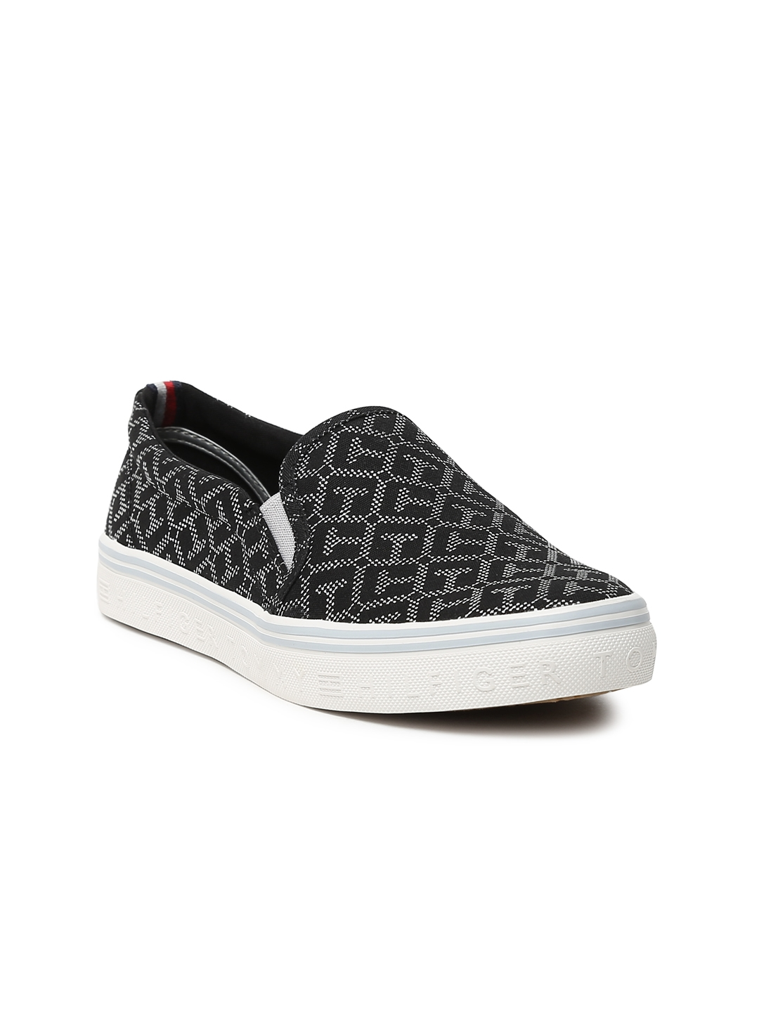 52e6a1efe Buy Tommy Hilfiger Women Black Self Design Slip On Sneakers - Casual ...