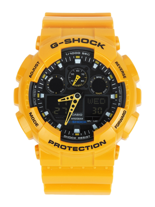Casio G Shock Men Yellow Dial Extra Large Combination Watch Ga 100a 9adr G273