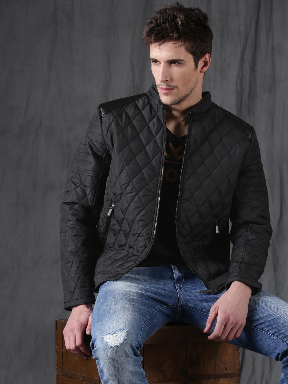 a4140b6ecda12 Buy WROGN Men Black Quilted Jacket - Jackets for Men 2071610