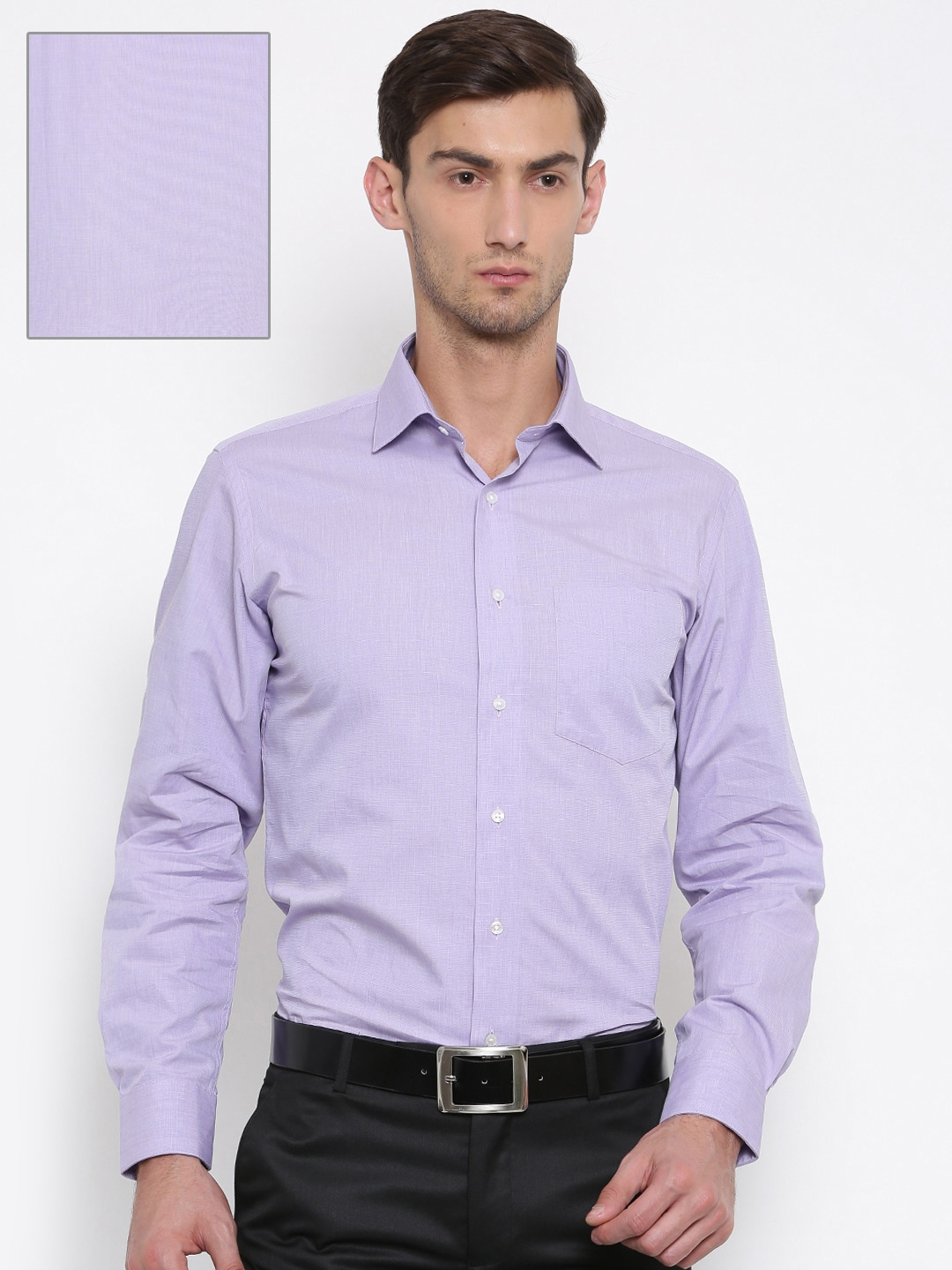 a7151d9aac0 Buy Van Heusen Men Purple Custom Regular Fit Solid Formal Shirt ...