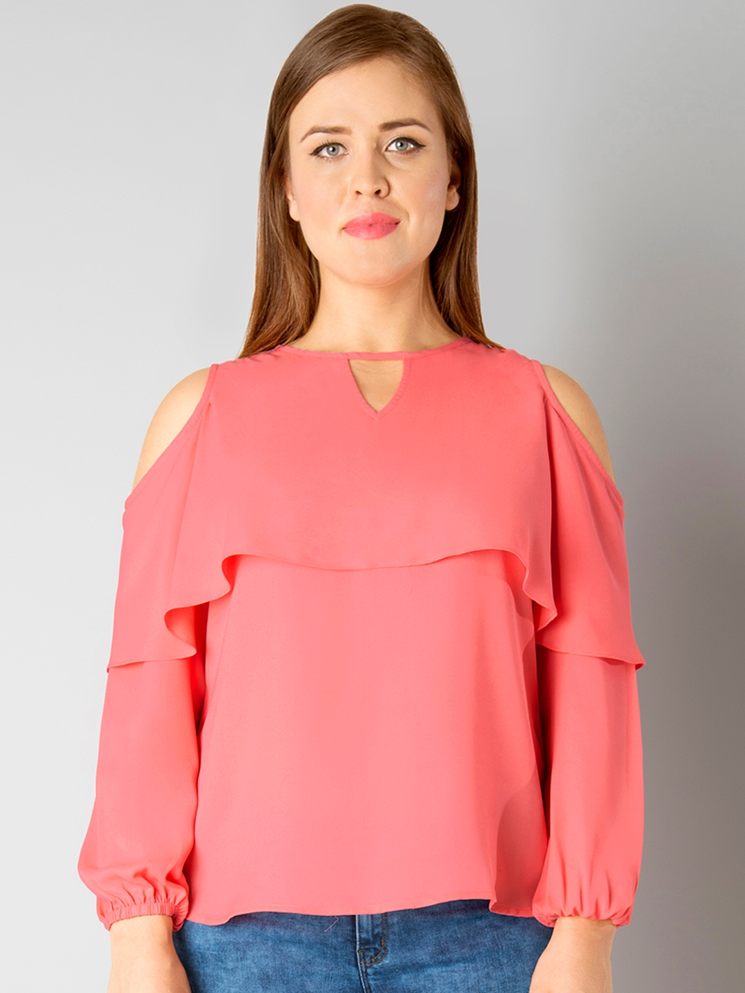 3acf12fc3d3d4 Buy FabAlley Curve Women Coral Pink Cold Shoulder Top - Tops for ...