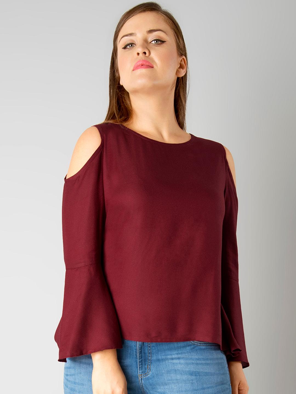 46db4de661d8a Buy FabAlley Curve Women Maroon Cold Shoulder Top - Tops for Women 2072879
