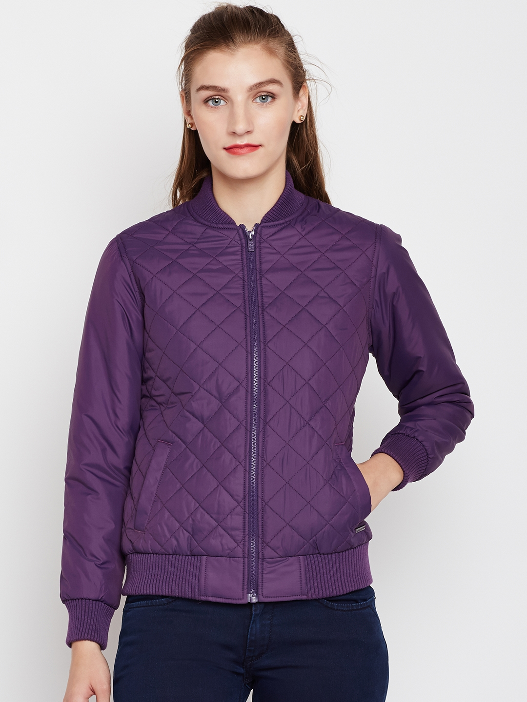 009bd26fdaa Pepe Jeans Women Purple Solid Quilted Jacket Jackets For