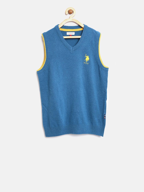 9dd10b8d149d Buy U.S. Polo Assn. Kids Boys Teal Green Solid Sweater Vest ...