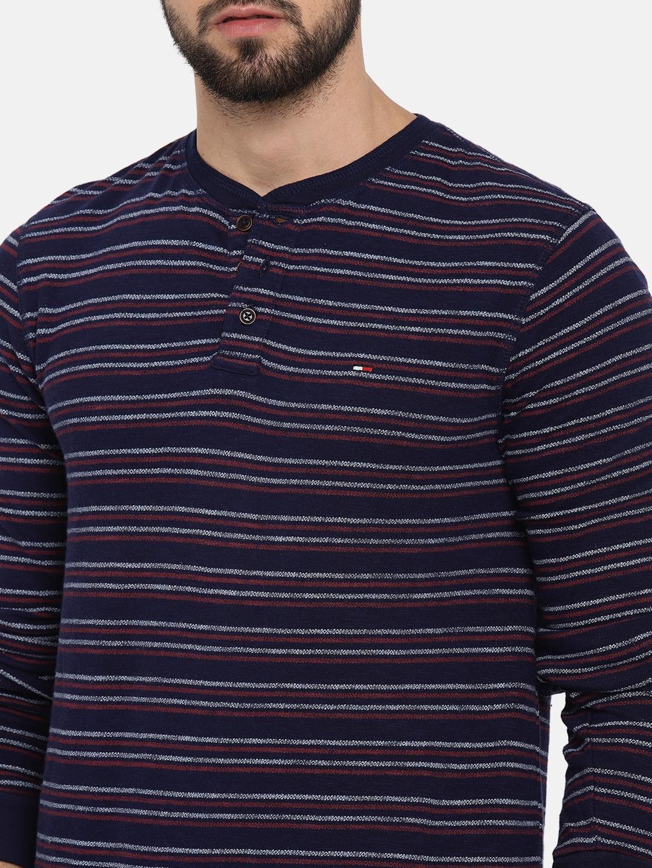 6930191b Buy Tommy Hilfiger Men Navy Blue Striped Henley Neck T Shirt ...