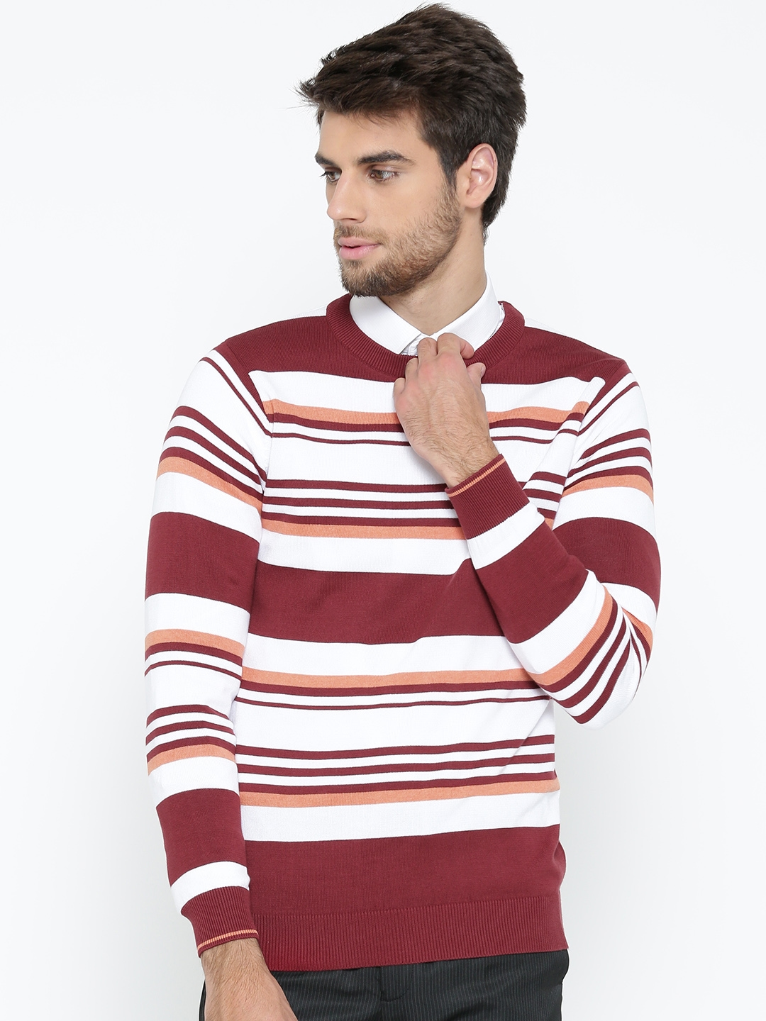 27c799e748b63d Buy Van Heusen Men Maroon & White Striped Sweater - Sweaters for Men ...