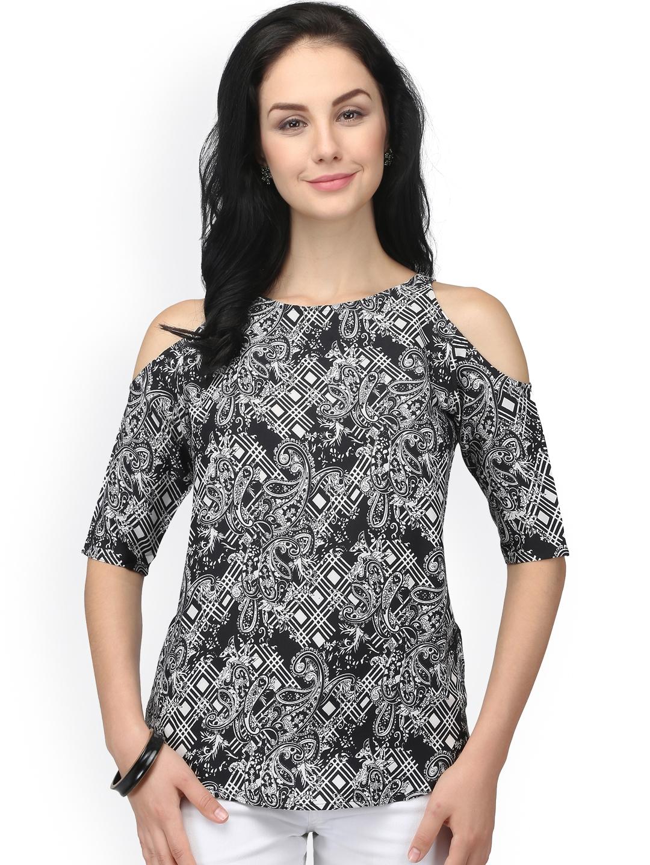 a4e702c67613f Buy Eavan Women Black   White Printed Cold Shoulder Top - Tops for ...