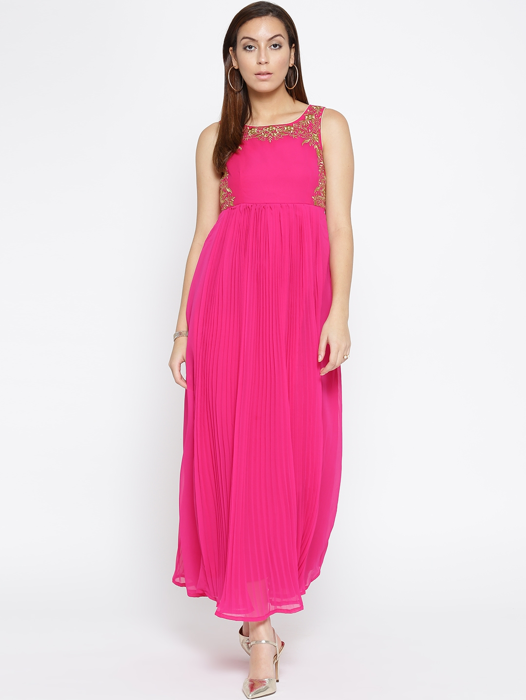 36b4a740404 Buy TRISHAA BY PANTALOONS Women Pink Accordion Pleat Maxi Dress ...