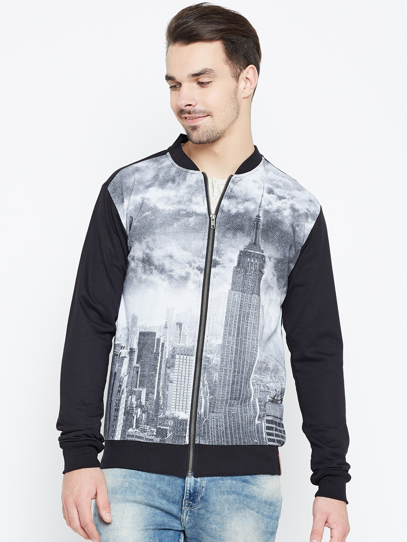 Status Quo Men Black   Grey Printed Sweatshirt