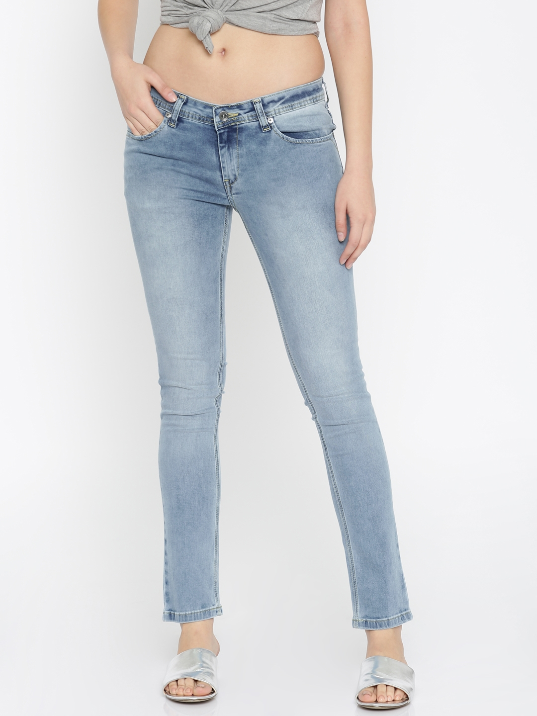 f6f0f39fc17 Pepe Jeans Women Blue Frisky Slim Fit Low-Rise Clean Look Stretchable Jeans