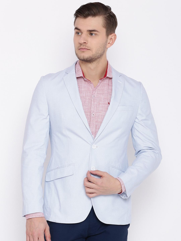 cc78cdf414f Buy Raymond White   Blue Checked Slim Fit Single Breasted Blazer ...