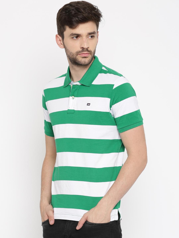 087c5f479e7 Buy Arrow Sport Men Green & White Striped Polo Collar T Shirt ...