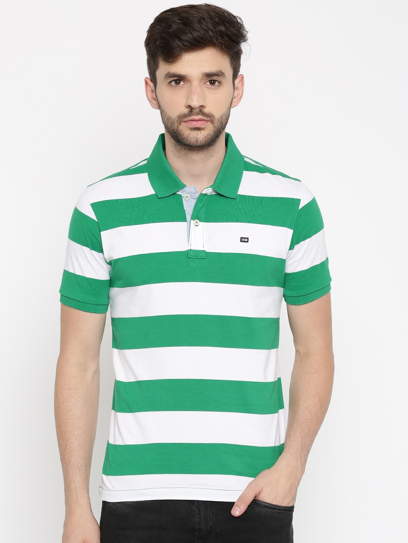 d446498b32b6de Buy Arrow Sport Men Green   White Striped Polo Collar T Shirt ...