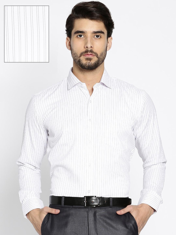 Buy Rg Designers Men White Purple Slim Fit Striped Formal Shirt