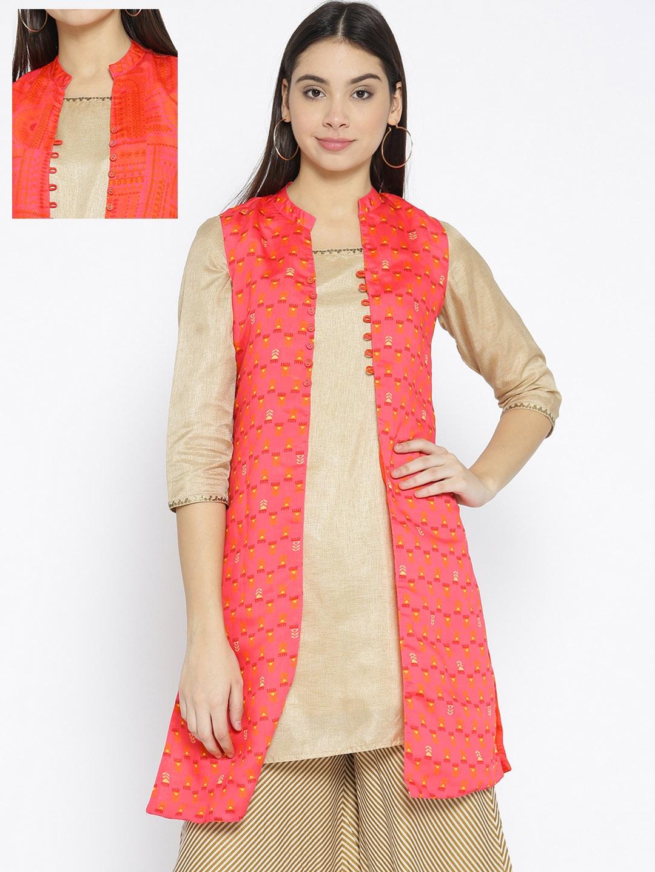 b1a95dc19 Buy Rangriti Women Coral Pink   Orange Printed Reversible Longline ...