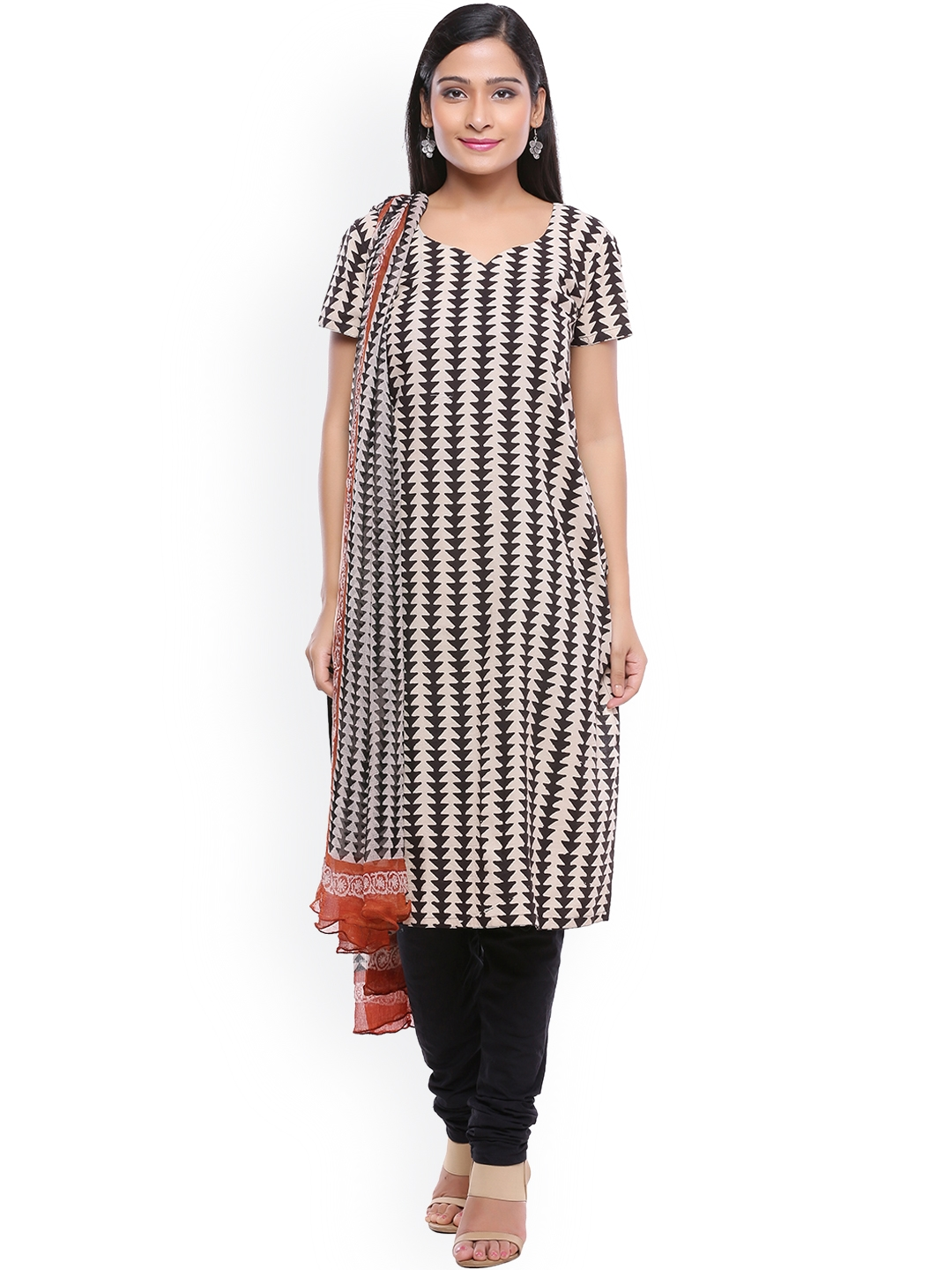 SOUNDARYA Black   Off White Pure Cotton Hand Block Printed Unstitched Dress Material