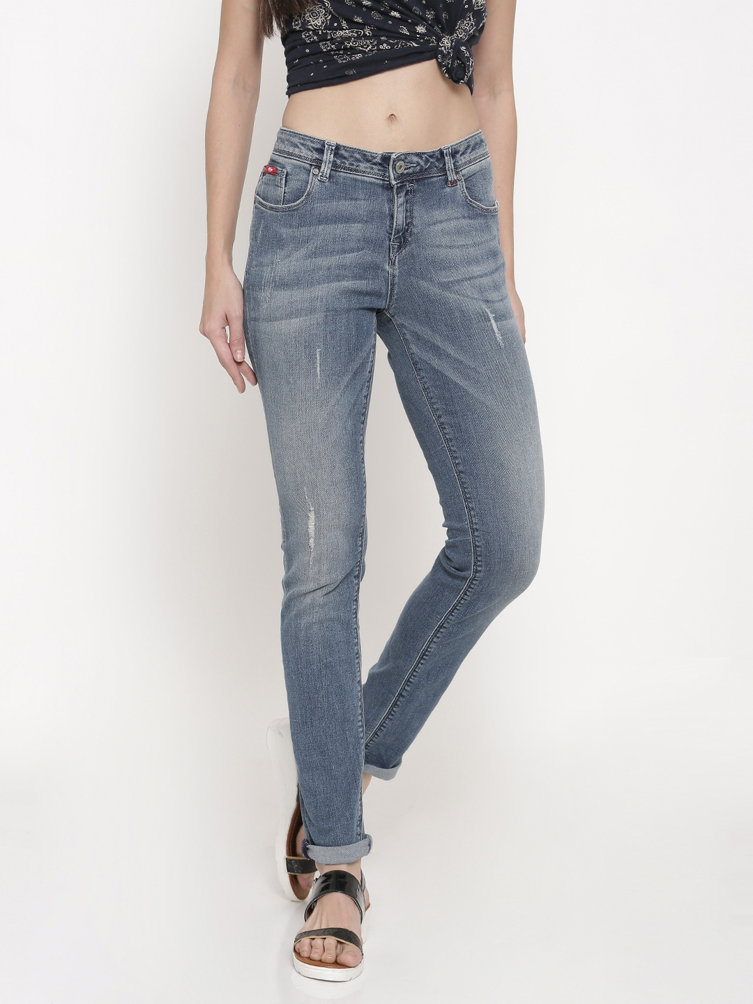 9bb4a37e76 Lee Cooper Women Blue Christy Slim Fit Low-Rise Mildly Distressed  Stretchable Jeans