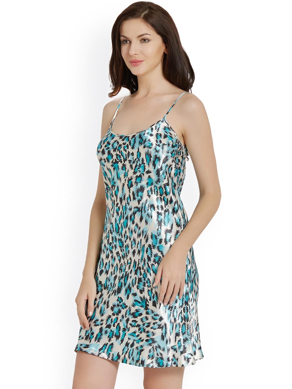 f9e052a260d Buy Blush By PrettySecrets Blue Animal Print Chemise Nightdress ...