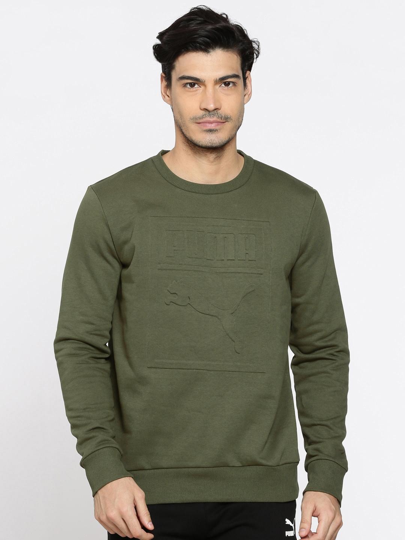 54aedeff05cf Buy Puma Men Olive Green Archive Embossed Logo Sweatshirt ...
