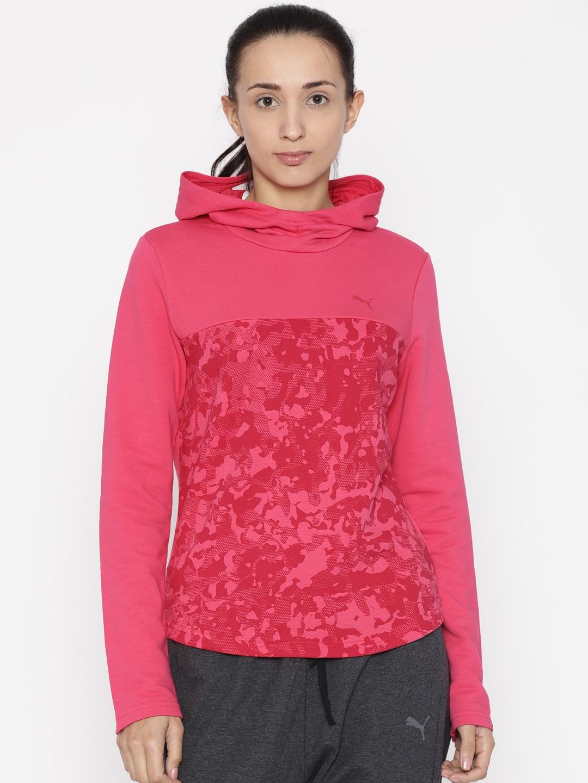 d6de79b1a938 Buy Puma Women Pink Printed ENERGIZED Hooded Sweatshirt ...