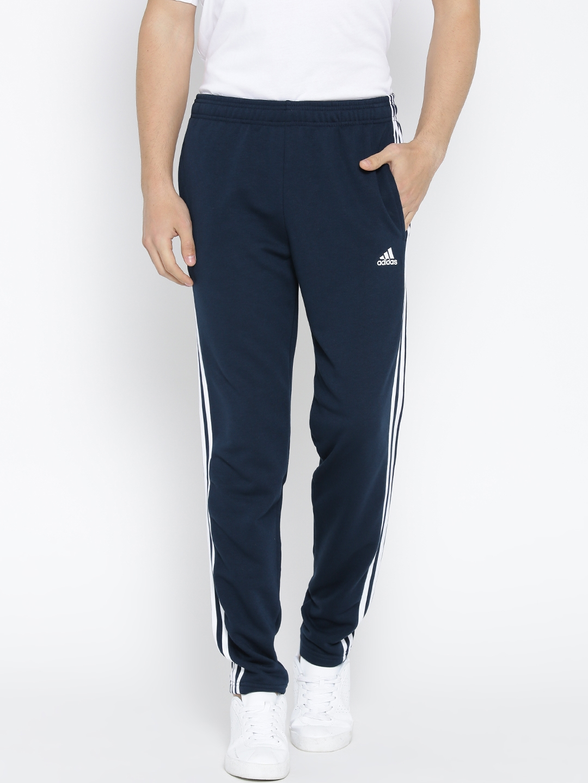 a529ef21359b46 Buy ADIDAS Men Navy Essentials 3 Stripes Fleece Track Pants - Track ...