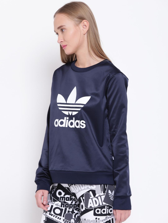 19d8e99ec8e Buy ADIDAS Originals Women Navy Blue TRF Crew Printed Sweatshirt ...