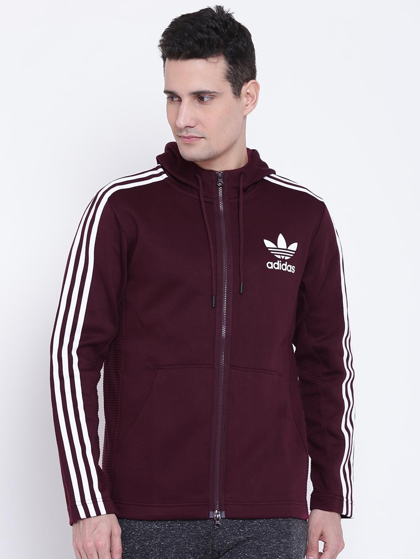 d7923cc695b8 ADIDAS Originals Men Burgundy CURATED FULLZIP Solid Hooded Sweatshirt