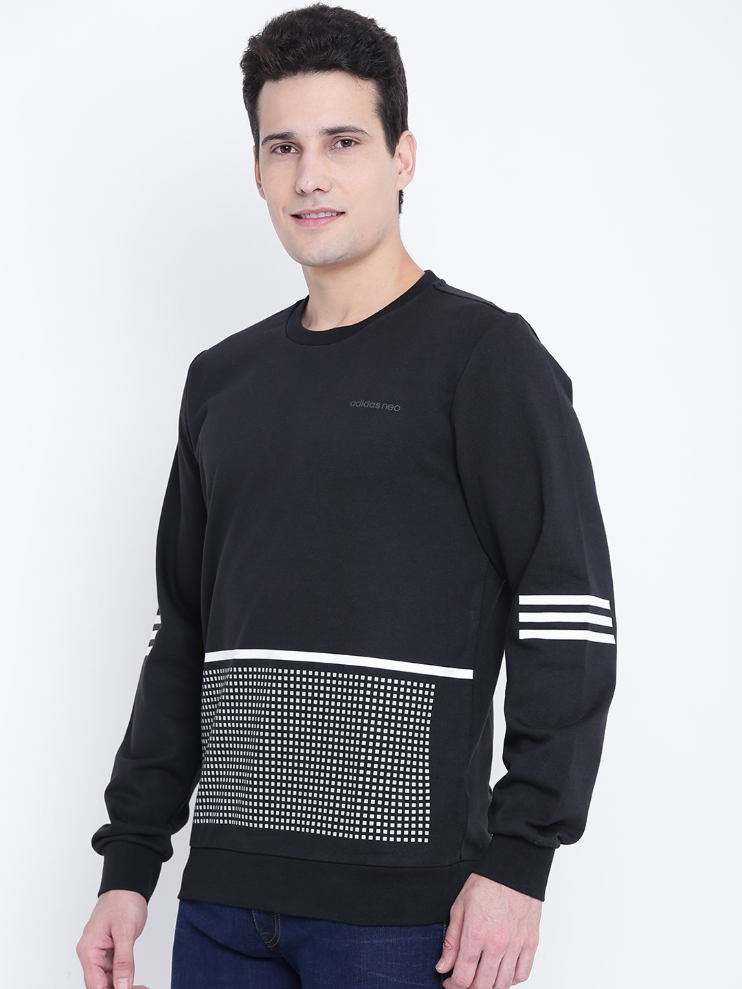 Buy ADIDAS NEO Men Black   White RFLCT GR Printed Sweatshirt ... b6c87ef42f
