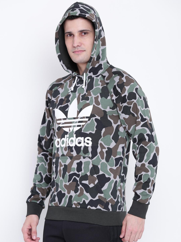 723805751dc0 ADIDAS Originals Men Green   Black Camo Printed Hooded Sweatshirt