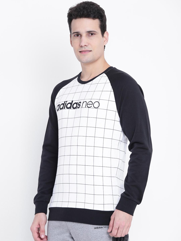 398acbbe812d Buy Adidas NEO Men White   Black CE WC Checked Sweatshirt ...
