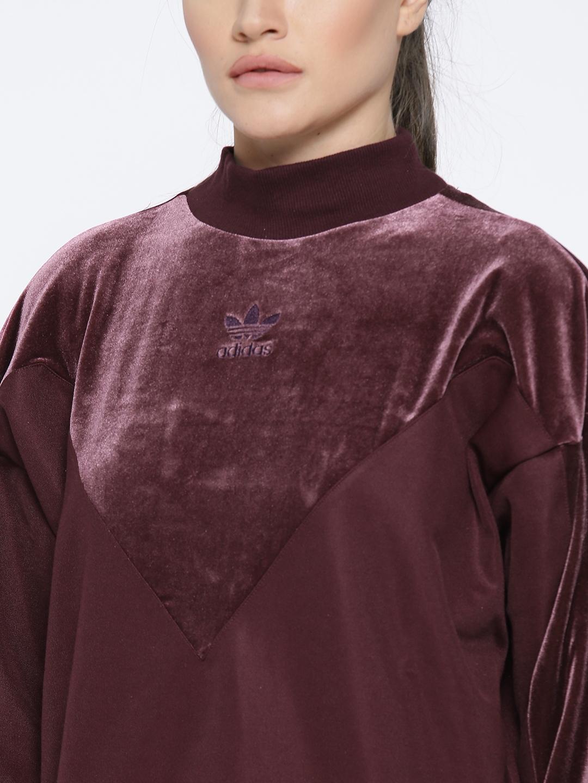 4e688ae038a ADIDAS Originals Women Burgundy Velvet Vibes BF Crew Solid Panelled  Sweatshirt