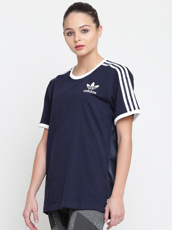 e06df77a51 Buy ADIDAS Originals Women Navy Blue 3 Stripes Solid Round Neck T ...
