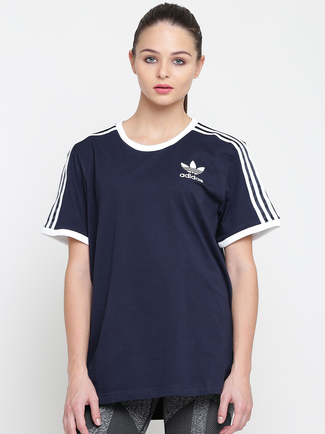 4298727a912 Buy ADIDAS Originals Women Navy Blue 3 Stripes Solid Round Neck T ...
