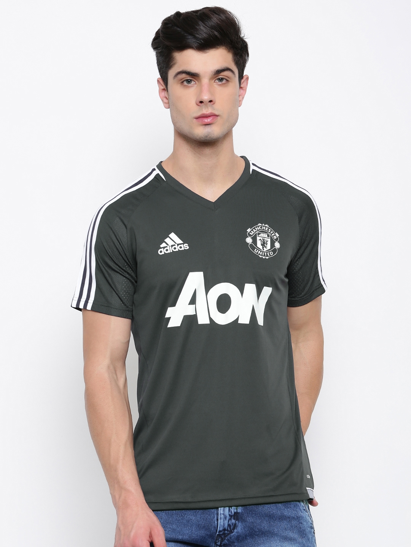 af2fff201 ADIDAS Men Grey Printed Manchester United F.C Training Jersey V-Neck T-shirt