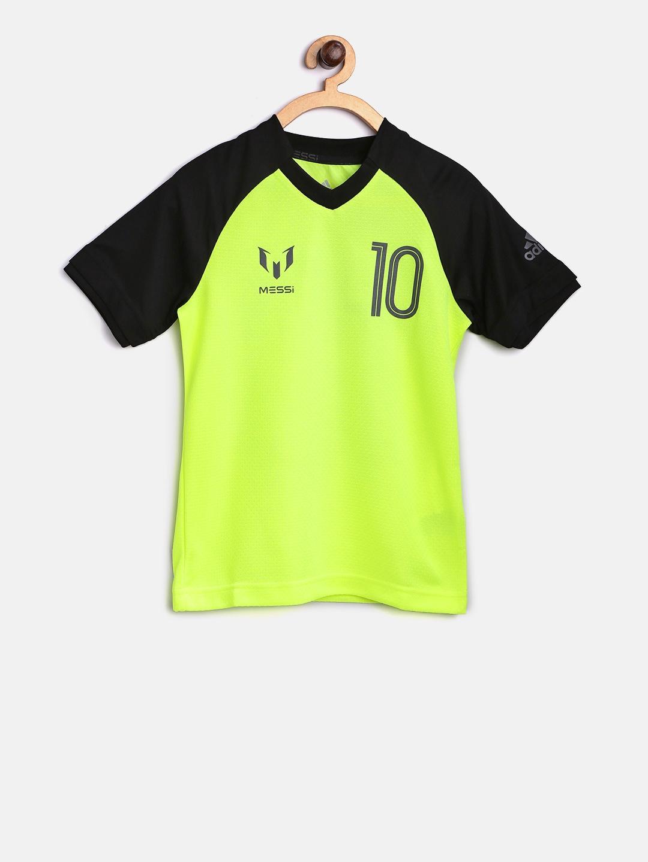 3421e07cd78c Buy ADIDAS Boys Fluorescent Green Printed Round Neck T Shirt ...