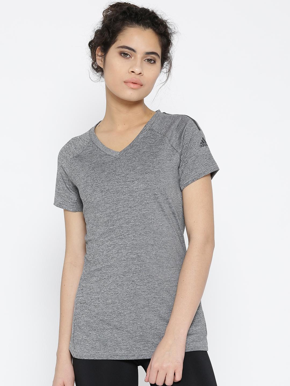 dc69172f Buy ADIDAS Women Grey Melange Freelift Solid V Neck T Shirt ...