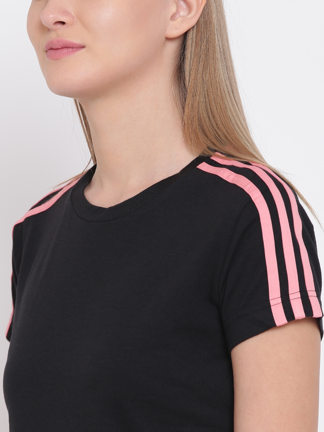 Buy ADIDAS Women Black Essentials 3 Stripes Slim Solid Round Neck T ... df4922710980