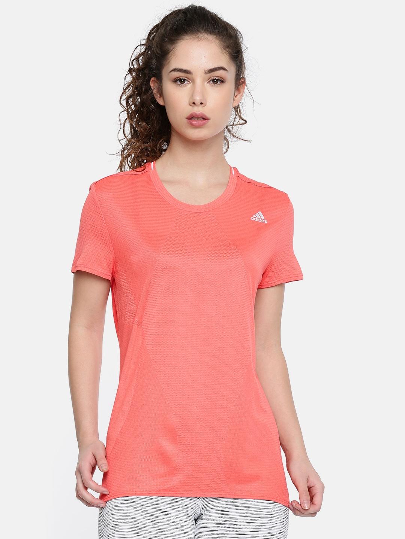 93b22f48 Buy ADIDAS Women Peach Coloured Running Solid Round Neck T Shirt ...