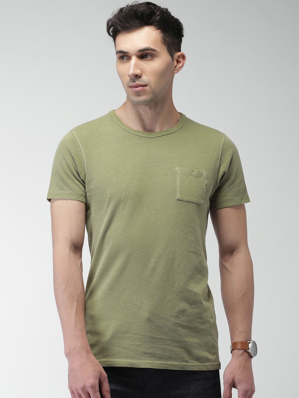 47ff1f09 Buy Scotch & Soda Men Olive Green Solid T Shirt - Tshirts for Men ...