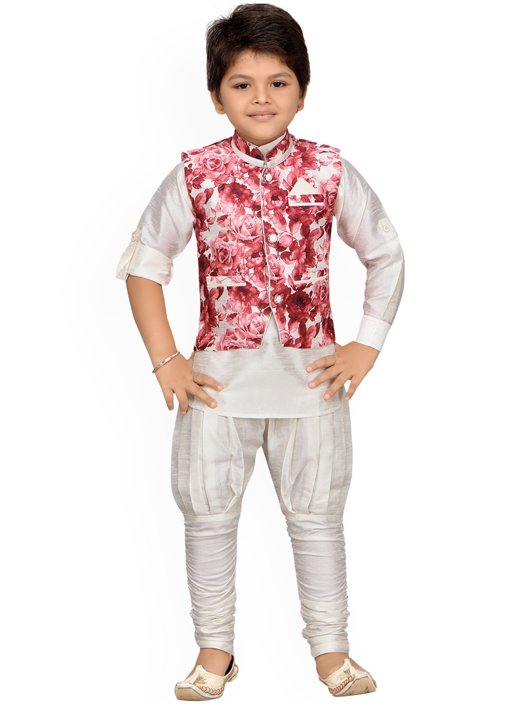 291754560 Buy Aj DEZInES Boys Off White   Red Printed Kurta With Pyjamas ...