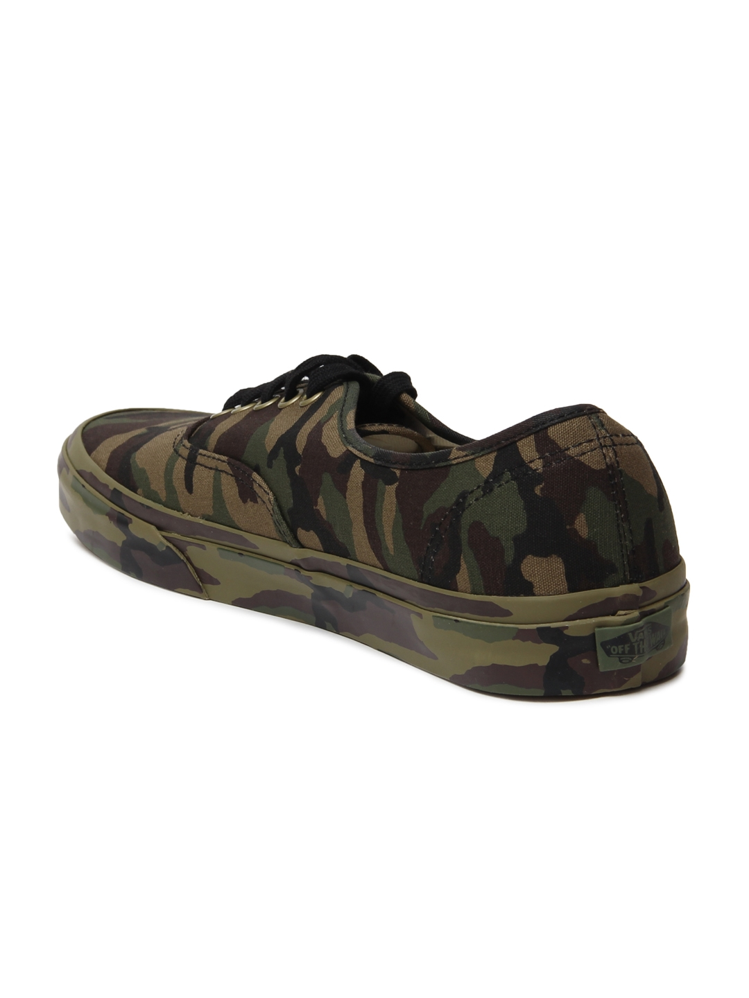 910f65d07ffdb6 Vans Unisex Olive Green   Brown Authentic Camouflage Print Sneakers