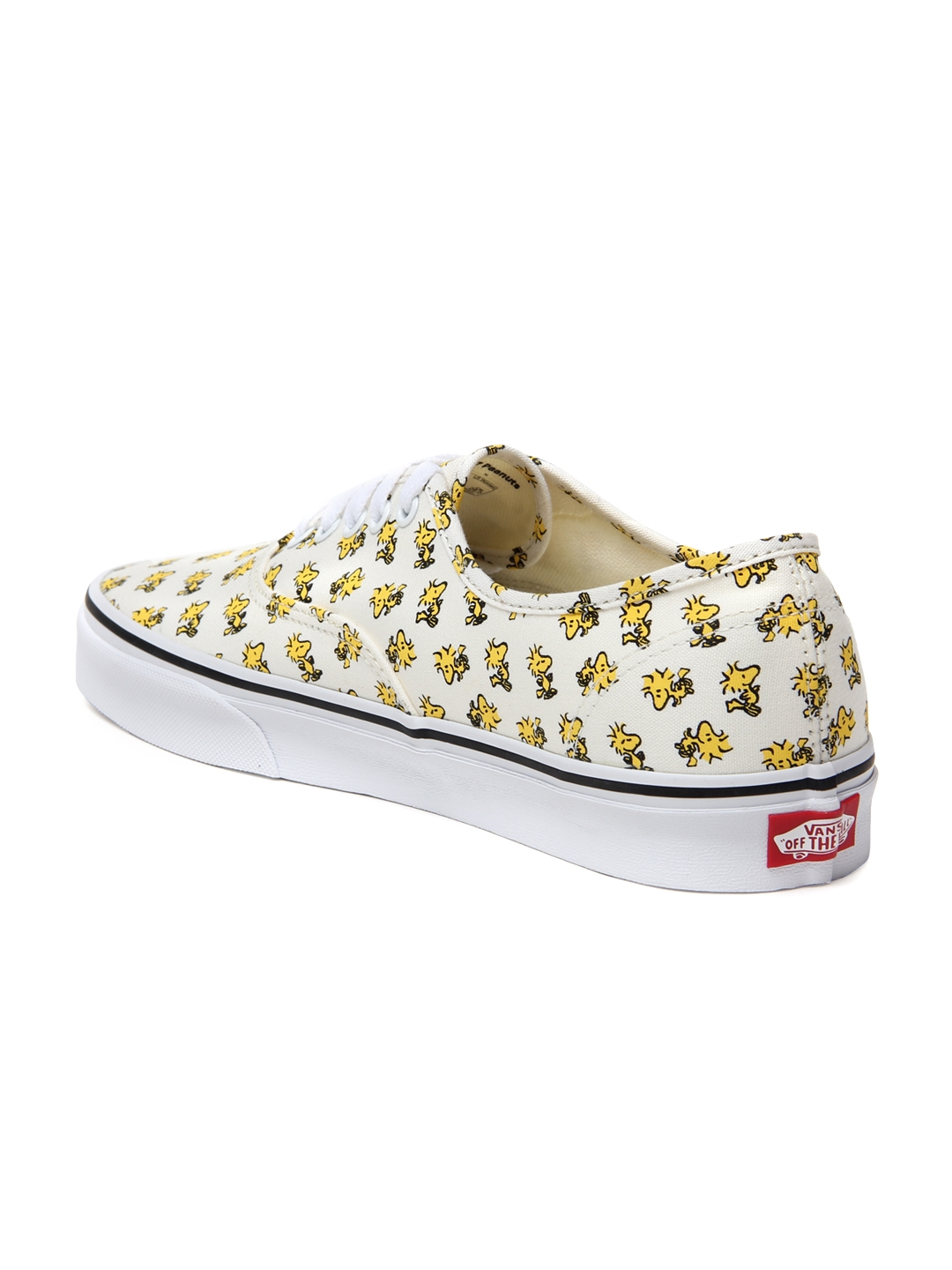 78d29b8e92 Buy Vans Unisex Off White   Yellow Authentic Printed Sneakers ...