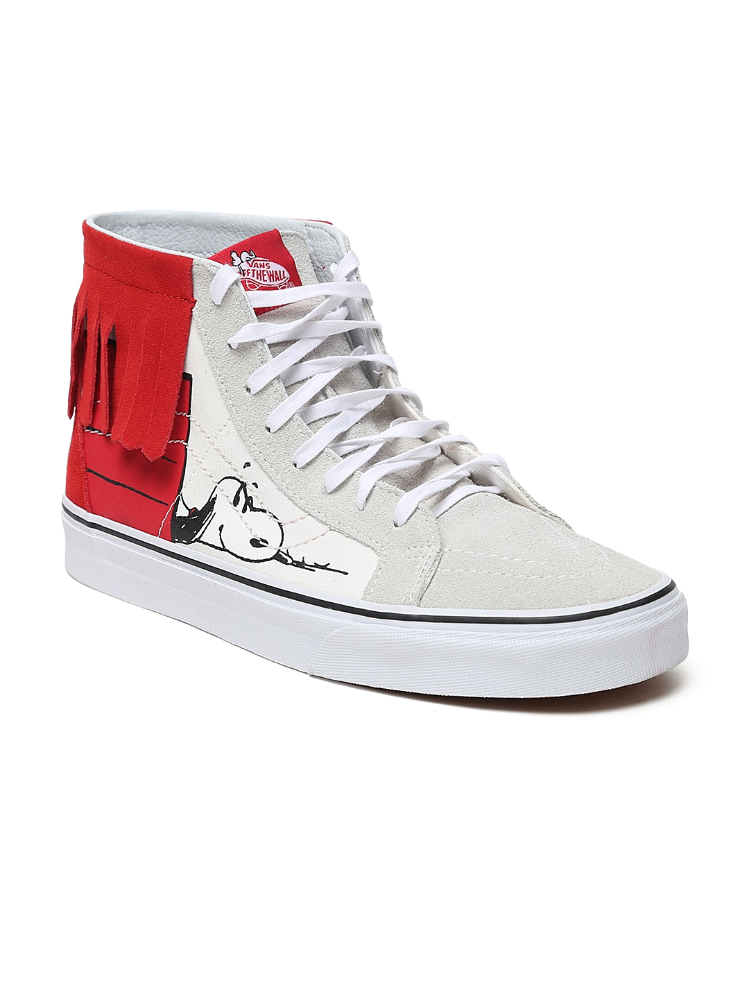 4476305bd5 Vans Unisex Off-White   Red Colourblocked SK8-Hi Moc Suede High-Top Sneakers