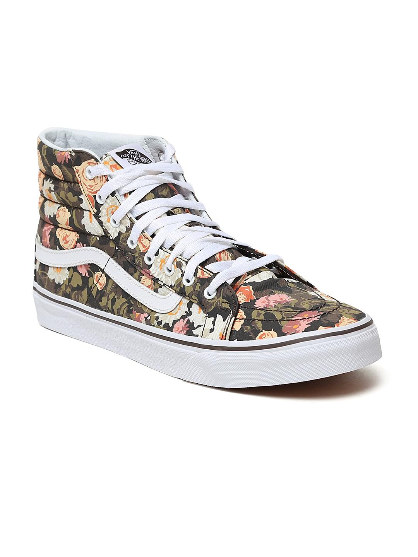 1f18ada491 Vans Unisex Olive   Pink Floral Print SK8-Hi Slim High-Top Sneakers