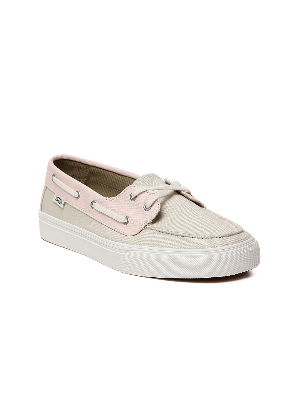 fea7c2b5e4efc1 Buy Vans Women Pink   Beige Chauffette Colourblocked Boat Shoes ...