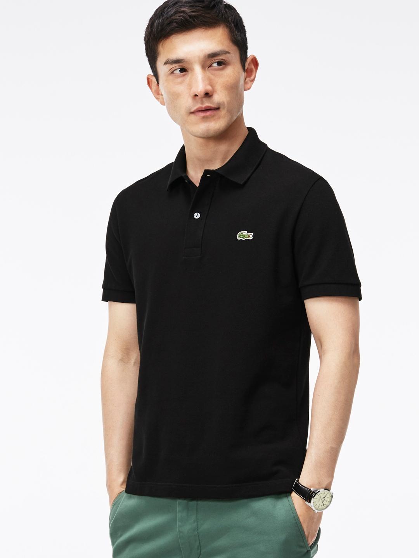 42a003596183d Buy Lacoste Men Black Slim Fit Stretch Petit Pique Polo - Tshirts ...