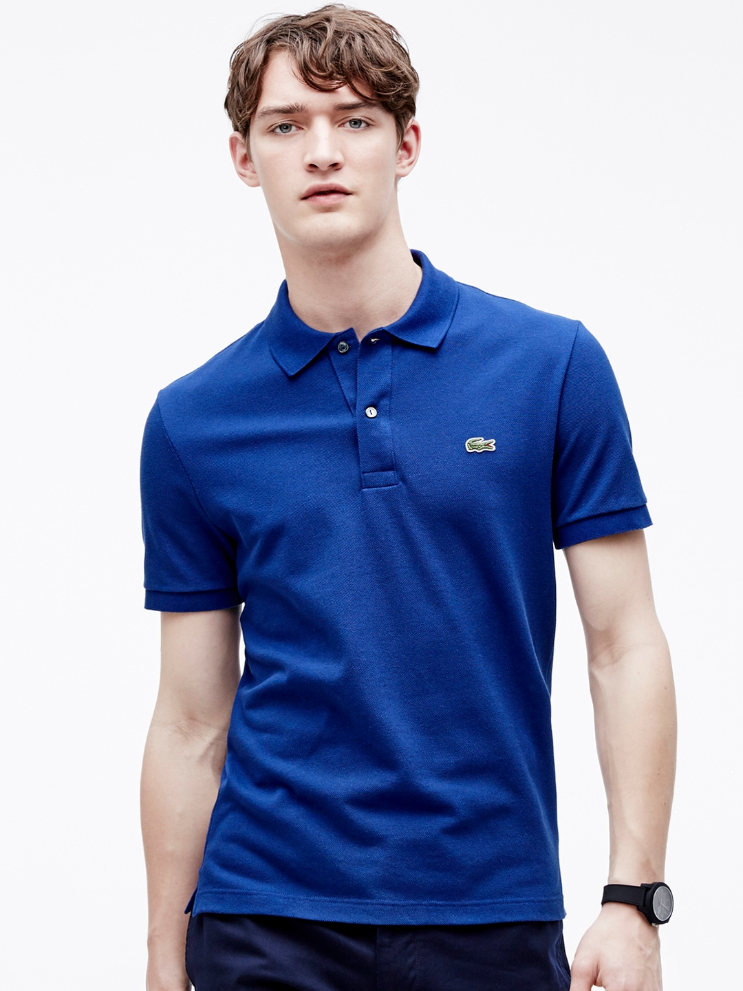 af9c59e9 Lacoste Men Blue Slim Fit Stretch Petit Pique Polo. This product is already  at its best price