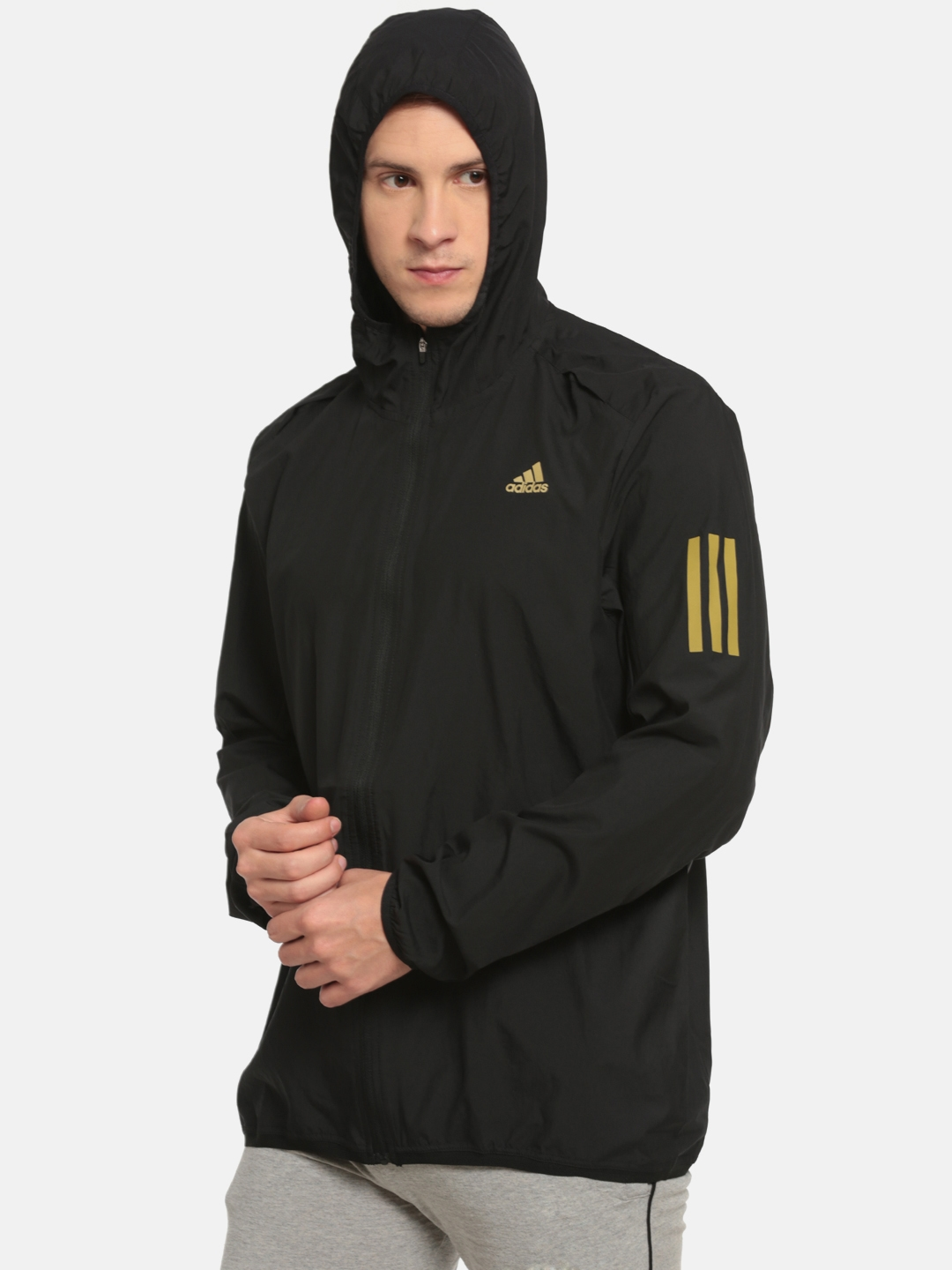 e7263b461 Buy Adidas Men Black RS HD Wind Solid Running Jacket - Jackets for ...