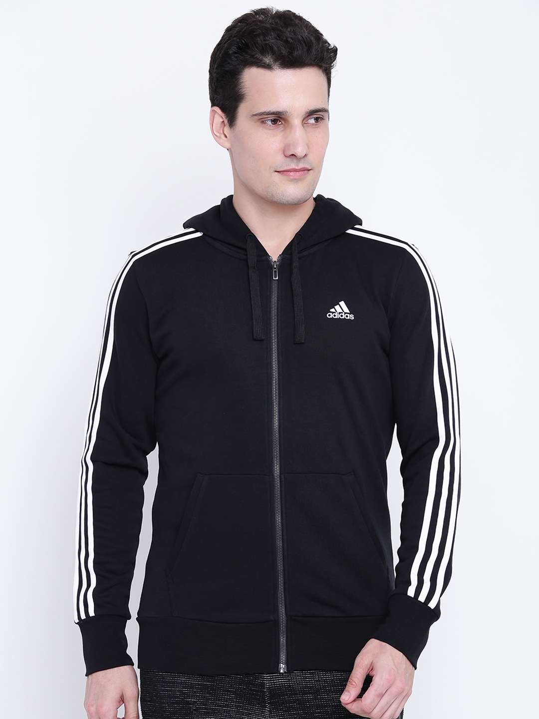 60c38f5ce09d ADIDAS Men Black Essentials 3 Stripes FullZip FT Solid Hooded Bomber Jacket